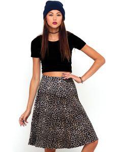 Motel Beth High Waisted Full Midi Skirt in 90s Leopard, TopShop, ASOS, House of Fraser, Nasty gal