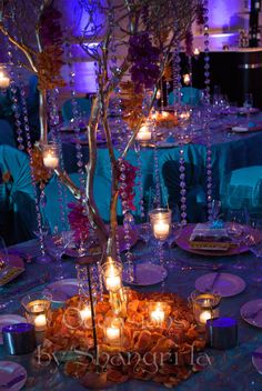 Images For > Turquoise And Purple Wedding Centerpieces