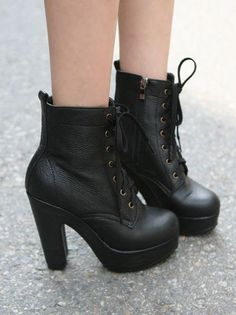 """Combat boots with 5"""" heels! I would totally rock these with a cute shirtdress!"""