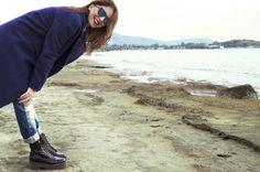 Blue coat, booties, sea on winter