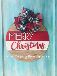 18 round Christmas Door hanger Comes painted as shown unless you request different colors Merry Christmas round sign chistmas door hanger christmas holiday decor christmas decor Wooden Door Signs, Front Door Signs, Wood Signs, Front Door Decor, 3d Christmas, Christmas Wreaths, Christmas Ornaments, Merry Christmas Signs, Christmas Makes To Sell