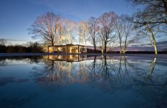 Philip Johnson's stunning Glass House in winter. - photo: Robin Hill