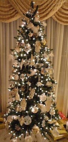 Marvelous My Gold Silver Sparkle Glitter And Pearl Slim Christmas Tree Easy Diy Christmas Decorations Tissureus