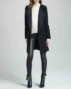 Florence Asymmetric-Front Coat, Elena Relaxed Cashmere Sweater & Claudette Leather Pants by J Brand Ready to Wear at Neiman Marcus.