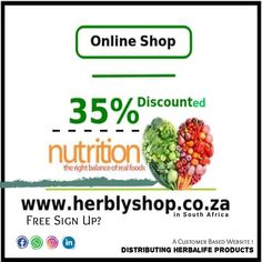 Online Shop  Products at a 35% Discount and all Customer/ Product Users are Welcome ?  The Online Store in South Africa  www.herblyshop.co.za  Free Shipping and No Vat ! Very Low  Prices!  For more information info@herblyshop.co.za Herbalife Shop, Herbalife Products, Herbalife Nutrition, Real Food Recipes, Healthy Recipes, First Relationship, Existing Customer, Free Sign, Weight Loss Program