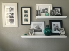 Picture arrangement on gray wall
