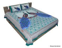 King Bedsheet Bohemian Peacock Print Mandala Tapestry Bedspread Green Bedsheet #BhavyaInternational #AnimalPrint