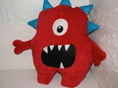 Big Red One Eyed blue horned Monster by TheHappyGroundhog on Etsy, $45.00