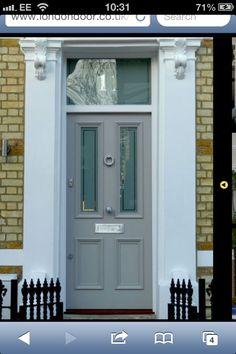 Victorian door with yellow London brick. Victorian Front Doors, Grey Front Doors, Front Door Colors, Front Doors With Windows, Edwardian House, Victorian Terrace, Victorian Homes, Porch Doors, Entrance Doors