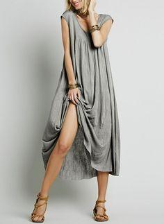Coton Neutre Manches longues Maxi Décontracté Robes (1029170)    floryday.com Manche Longue c03f080bf4e