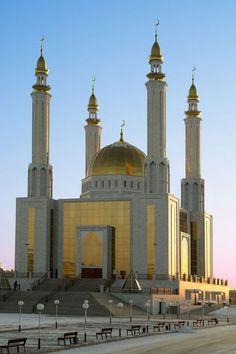 City Masjid in Aktobe, Kazakhstan Mosque Architecture, Religious Architecture, Beautiful Architecture, Art And Architecture, Islamic World, Islamic Art, Beautiful Mosques, Grand Mosque, Place Of Worship