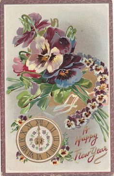 NEW YEAR~Pansy Bouquet Happy New Year Antique Postcard