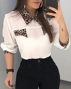 Style:Fashion Pattern Type:Patchwork Material:Polyester Neckline:Turn-down Collar Sleeve Style:Long Sleeve Length:Regular Occasion:Casual Package Blouse Winter Outfits Women, Summer Outfits, Beautiful Blouses, Casual Outfits, Emo Outfits, Modest Outfits, Skirt Outfits, Casual Sweaters, Blouse Vintage