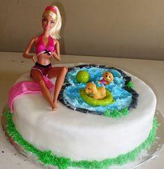 Poolside Barbie Cake