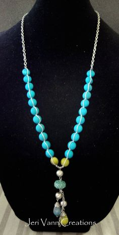 Handmade Vintage Matte Teal Bead and Silver Charm Macrame Necklace