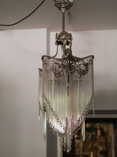 Art Nouveau Chandelier in the Style of Hector Guimard Art Deco Chandelier, Bronze Chandelier, Antique Chandelier, Art Deco Lighting, Antique Lamps, Antique Lighting, Vintage Lamps, Vintage Crystal Chandelier, Chandelier Crystals