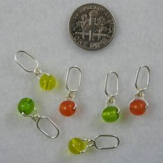 Suspended Bead Knitting Stitch Markers - Citrus Colors