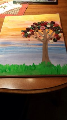 Tree acrylic on canvas with buttons
