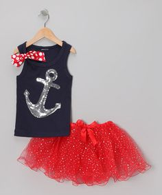Love this Navy & Red Sequin Anchor Tank & Tutu - Infant, Toddler & Girls by Beary Basics on #zulily! #zulilyfinds