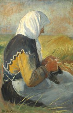 Beach scene with a fisherman's wife from Skagen knitting in the sun - Michael Peter Ancher Knitting Club, Knit Art, Labor, Illustrations, Beach Scenes, Water Lilies, Vintage Knitting, Large Art, Vintage Images