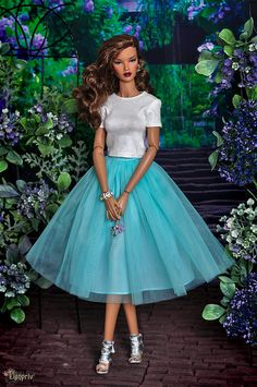 "ELENPRIV mint tutu ballet midi tulle skirt with chiffon lining for Fashion royalty FR:16 ITBE 16"" Sybarite Tonner, similar body size dolls by elenpriv on Etsy"