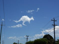 kangaroo shaped cloud. Love to see shapes in the clouds!