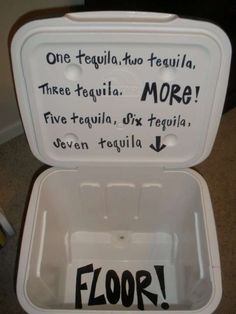 my college ice chest needed this quote. tequila or bombs (vegas or jager) would do! Fraternity Coolers, Frat Coolers, Fraternity Formal, Sorority Life, Sorority Canvas, Sorority Paddles, Sorority Recruitment, Coolest Cooler, Cooler Designs
