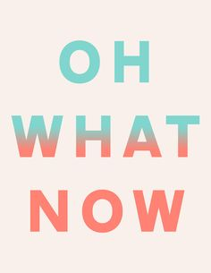 Oh What Now by Anna Dorfman in Typography