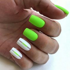 If you want everyone to envy your nails, you're going to LOVE the green nail polish designs we've found. Prepare to fall in love with these green nails inspo! Neon Green Nails, Bright Summer Nails, Cute Summer Nails, Green Nail Polish, Bright Nails, Neon Nails, Cute Nails, My Nails, Yellow Nail