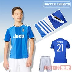16e35b100 Newest Cool Juventus Blue 2016-2017 Away Kids Soccer Jersey With Dybala 21  Printing