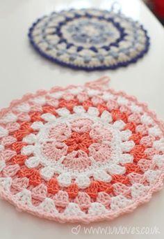 Crocheted Pot Holder Orange Crocheted Hot Pad Brown and White Pot Holders Trivet Pads -Set of 3 Crocheted Pot Holders