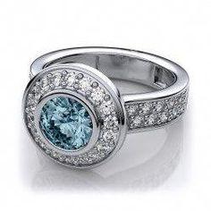 1e4e003b3 Build Your Own Bezel Set Modern Halo Aquamarine Ring in Platinum (.75 Carat)