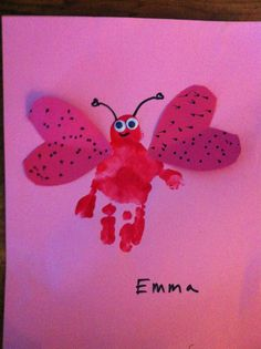 "Handprint ""love bug"" craft for kids - valentine"