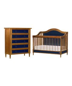 Antique Walnut & Navy Copley Crib & Wide Dresser Set | Daily deals for moms, babies and kids