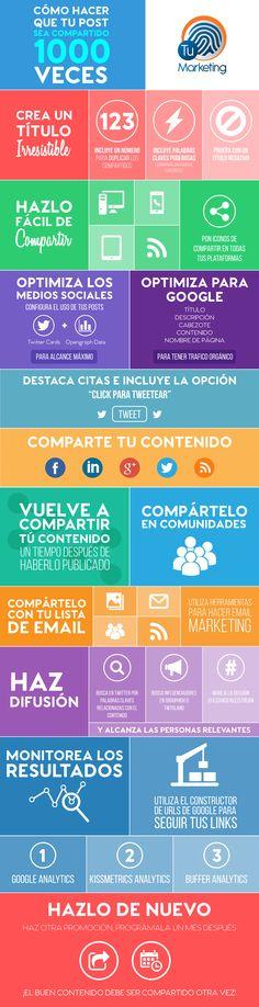 Cómo conseguir que tu post de comparta 1.000 veces. #infografia  #socialmedia @rubendelaosa http://rubendelaosa.com