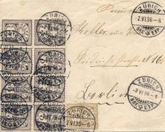 Switzerland 3Rp. In the block of eight, left upper stamp with defect corner, right page fractional bumped, as 24Rp. Franking to Berlin, used Zurich 2. V...