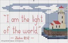 Free Printable Cross Stitch Patterns | Cross Stitch Scripture Verse with Ocean Beach Theme