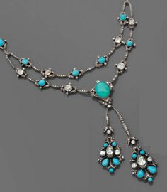 An elegant négligé necklace, English, 1860s. Composed diamonds, turquoise, gold and silver. #Antique #Victorian #necklace