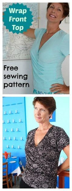Love the way the pleats form the wrap front on this top. Video and free pattern.