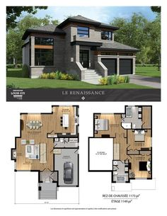 Homes of prestige - contemporary for sale construction louis-sixteen Modern House Floor Plans, Sims House Plans, House Layout Plans, Contemporary House Plans, New House Plans, Dream House Plans, Small House Plans, House Layouts, Modern House Design