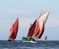 Traditional boats sailing in Peel Bay during the traditional boat weekend http://www.peeltraditionalboat.org/