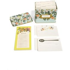 Rifle Paper Co. Notepad, Recipe Cards & Recipe Box Set ($56) ❤ liked on Polyvore featuring home, home decor, citrus floral, vintage style home decor, rifle paper co recipe box, recipe tin, tin recipe box and floral home decor