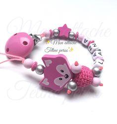 attache tétine personnalisée perles en bois ~ modèle renard Pink rose clair argent