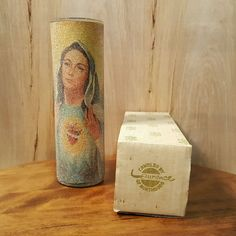 """Vtg SUGAR FROSTED Coated 9"""" CANDLE ~ IMMACULATE HEART of MARY ~ in ORIGINAL BOX #Candle #VirginMary #Vintage"""