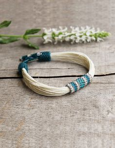 White Bracelet, Teal Bracelet, Linen Jewelry, Eco Friendly jewelry, Hemp Bracelet, Wife Gift, Tribal Jewelry, Summer Gift, Spring Fashion