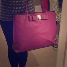 """Fuchsia bag by Merona Fuchsia/purple purse from Target. Measures 17"""" long, 13"""" tall, and 5"""" wide. One inside zipper pocket and 2 inside open pockets. Hardly used! Merona Bags Totes"""