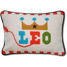 Jonathan Adler Leo Zodiac Needlepoint Throw Pillow ($98) ❤ liked on Polyvore featuring home, home decor, throw pillows, pillows, zodiac, zodiac signs, velvet accent pillows, jonathan adler throw pillows, astrology signs and jonathan adler home decor