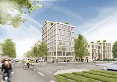 Wettbewerb Wölflinareal Freiburg für Gisinger Wohnbau, Entwurf Hotz Architekten, Visualisierung LINK3D