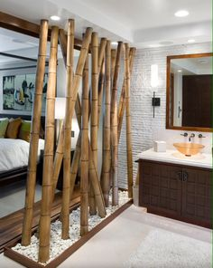 Bathroom Asian inspired w bamboo