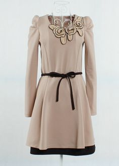 Rosette Pleated A Line Dress